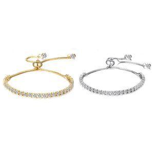 Two Tennis Bracelets Swarovski Crystal Gld/Slr New